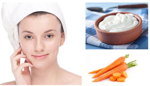 Trị da khô và mụn trứng cá bằng cà rốt, sữa chua