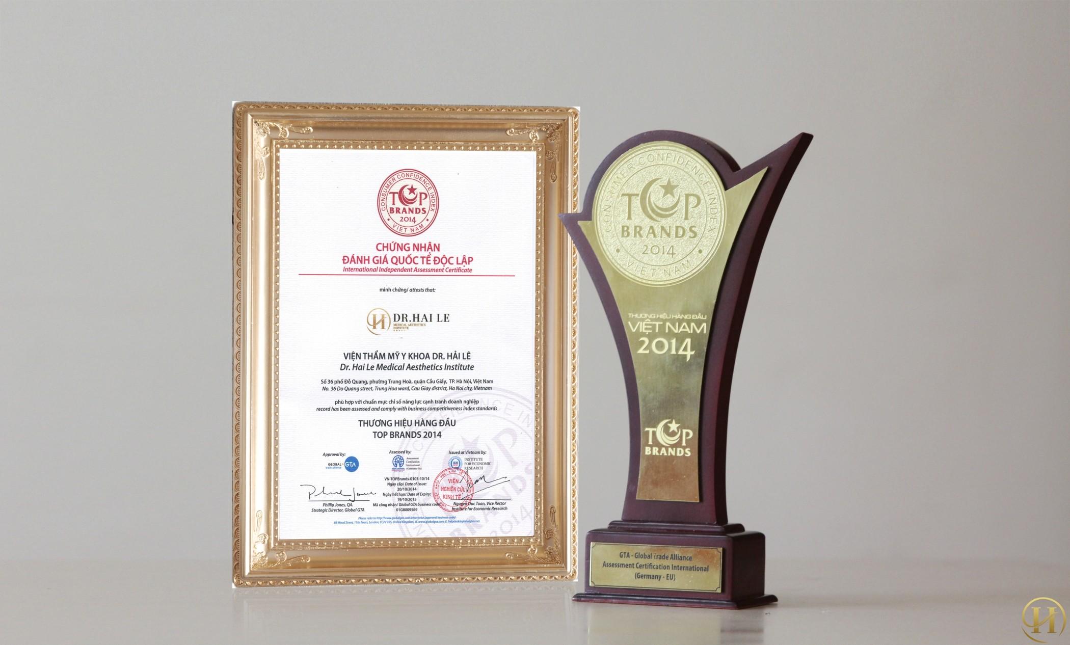 Viện Thẩm Mỹ Y khoa Dr.Hải Lê đạt giải thưởng Top Brand 2014